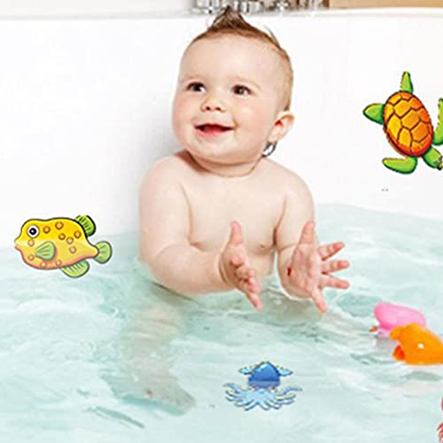 Non-Slip Bathtub Stickers Pack of 10 Sea Creature Decal Treads. Best Adhesive Safety Anti-Slip Appliques for Bath Tub and Shower Surfaces (A)