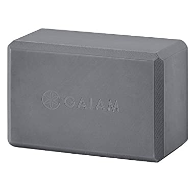 Gaiam Yoga Block - Supportive Latex-Free EVA Foam Soft Non-Slip Surface for Yoga, Pilates, Meditation, Storm Gray