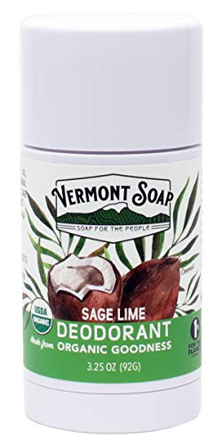 Vermont Soap Organic Deodorant: Sage Lime 3.25 Ounce Value Size | USDA Certified Organic and All Natural Formula with No Aluminum, Chemicals, Parabens or Preservatives