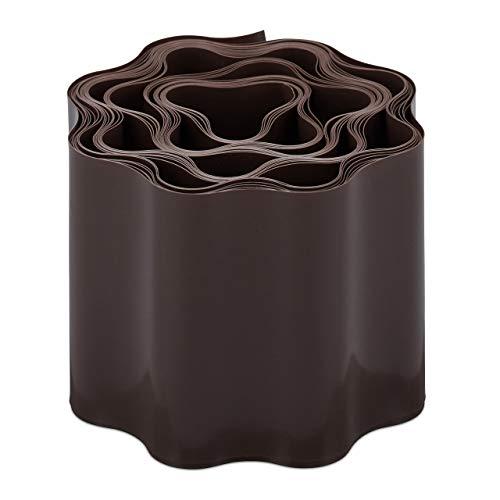 relaxdays Recinzione Flessibile, Bordura Plastica, Bordatura per Prato o aiuole, 10 x 900 cm, Marrone