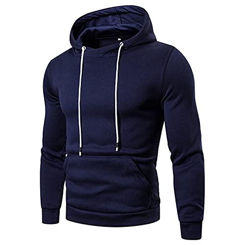 Binggong Sudadera con capucha para hombre con cuello redondo, con bolsillo en la manga, moderna, monocolor, informal, con capucha, de manga larga, para otoño e invierno