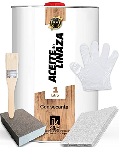 SIKD – Kit Aceite de Linaza para Madera con Secante. Soluciona las Largas Esperas y Seca Rápido. Set Restauración 1L. Protege y Nutre la Madera de Forma Natural