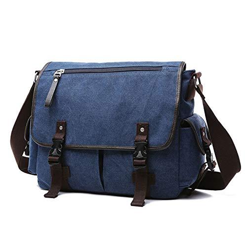 Yi-xir fashion design Vintage Men's briefcases Shoulder Bag Travel Crossbody Bags Causal Canvas Messenger Bag Patchwork Multi-function Laptop Lightweight and durable (Color : Blue plus)