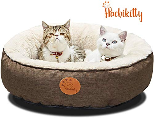 HACHIKITTY Washable Donut Cat Bed Round, Cat Beds Indoor Cats Medium, Big Cat Bed Machine Washable, 24