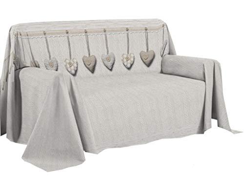 HomeLife Sofaüberwurf Druck Herzen - Bettlaken Multiuso aus Baumwolle - Granfoulard Tagesdecke für Einzelbett [180 x 290 ] und Doppelbett [250 x 290 ]- Made in Italy 2 Sitze beige