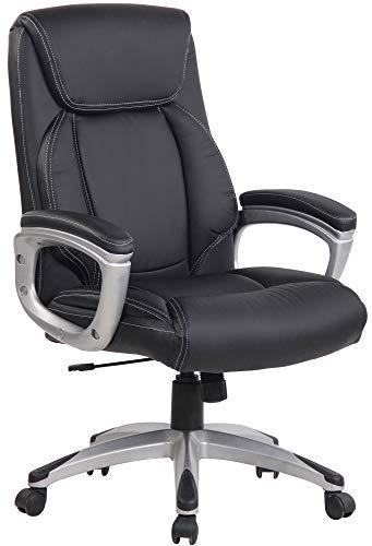 CLP Leeston - Silla de oficina con funda de piel sintética, giratoria con reposabrazos, color negro