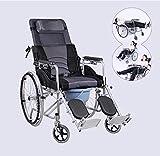 ZXL@ED Ältere Rollstuhl Faltbar, 180 ¡ã Hand Ältere Rollstuhl Mit Ganzkörper-Liegen, Abnehmbare Kopfstütze Heightened Rückenlehne Und Mesh-Gewebe Tablett -