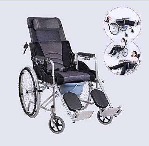 TWL LTD-Wheelchairs Zusammenklappbarer Manueller 180 ° -Rollstuhl mit Ganzkörper-Liegefunktion, Abnehmbarer, Erhöhter Kopfstütze, Rückenlehne und Netzgewebe