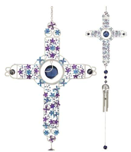 Ebros Colorful Celtic Floral Cross with Gemstones Resonant Relaxing Wind Chime 40' Long Aluminum Rods Hanging Mobile Home Patio Garden Decor Religious Catholic Christian Inspirational Windchimes