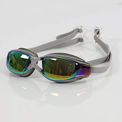 Solid Color Zwembadgoggles voor volwassenen, uniseks, professioneel zwembrillen, waterdicht, anti-condens, Big Box zwemmen moet goede uitrusting, grijs
