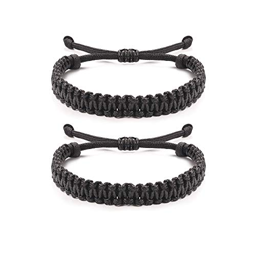 Jeka Handmade Friendship Bracelets Paracord Rope Surfer Braided Woven Bracelets Adjustable Distance Surfer Bracelets for Men Boys Wristbands Gift Black