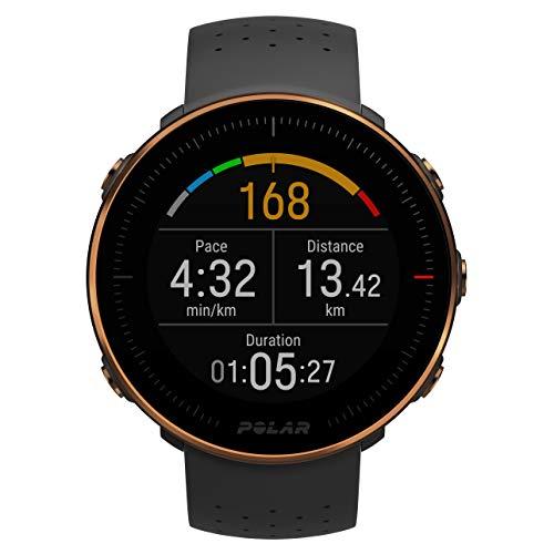 Polar Vantage M -Reloj con GPS y Frecuencia Cardíaca - Multideporte y programas de running - Resistente al agua, ligero- Negro/Cobre - Talla M/L