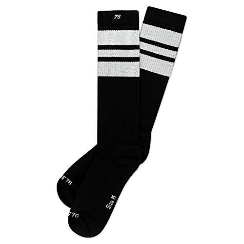 Spirit of 76 The white Whites | Retro Socken Schwarz, Weiß gestreift | kniehoch | Unisex Strümpfe Size L (43-46)