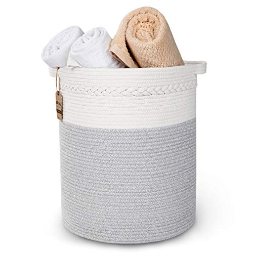 StarHug Large Woven Storage Basket - 20 x 18 inch Laundry Hamper – For Blankets, Throws, Pillows, Toys, Nursery - 100% Cotton Rope - Stylish Bin with Gift of Mesh Laundry Bag