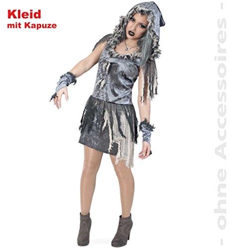 FASCHING 10667 Kostüm Zombie-Braut Kleid m.Kapuze Halloween NEU/OVP: Größe: 34
