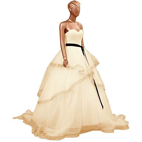 HUINI Abendkleider Lang Elegant Hochzeitskleider Organza Ballkleider Rückenfrei Brautkleider Standesamt Brautmode Quinceanera Kleider Champagne 48