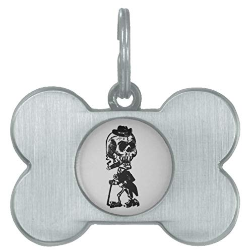Stainless Steel Pet ID Tags, Cigar Smoking Skeleton Pet Tag, Dog Tags, Cat Tags, Bone Shaped ID Tag for Dogs and Cat