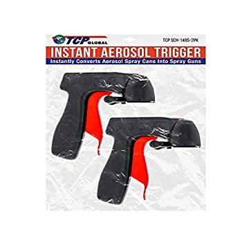 Instant Aerosol Trigger Handle  Pack of 2  Instantly Converts Spray Cans into Spray Guns - Full Hand Grip Reusable Easy to Clip-On & Off - Universal Fit Use on Spray Paint Adhesives Lubricants