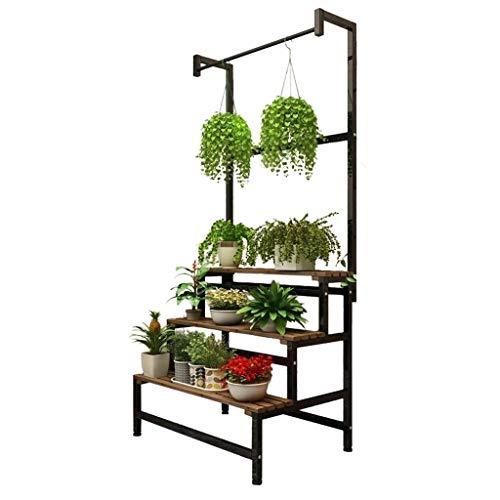 AILIWEI 3-laags massief houten bloempotdrager, gestapeld massief hout groen vitrine hangende zwarte bloemstandaard (60 * 178cm)