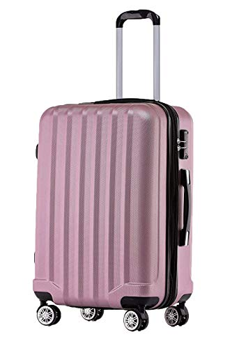 BEIBYE TSA-Schloß 2080 Hangepäck Zwillingsrollen neu Reisekoffer Koffer Trolley Hartschale Set-XL-L-M(Boardcase) (Rosa, M)