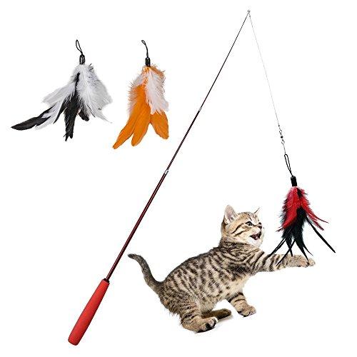 AIDIA 猫のおもちゃ 猫じゃらし 三羽のリフィル交換用パック 伸縮できる じゃれ猫 釣り竿 (赤)