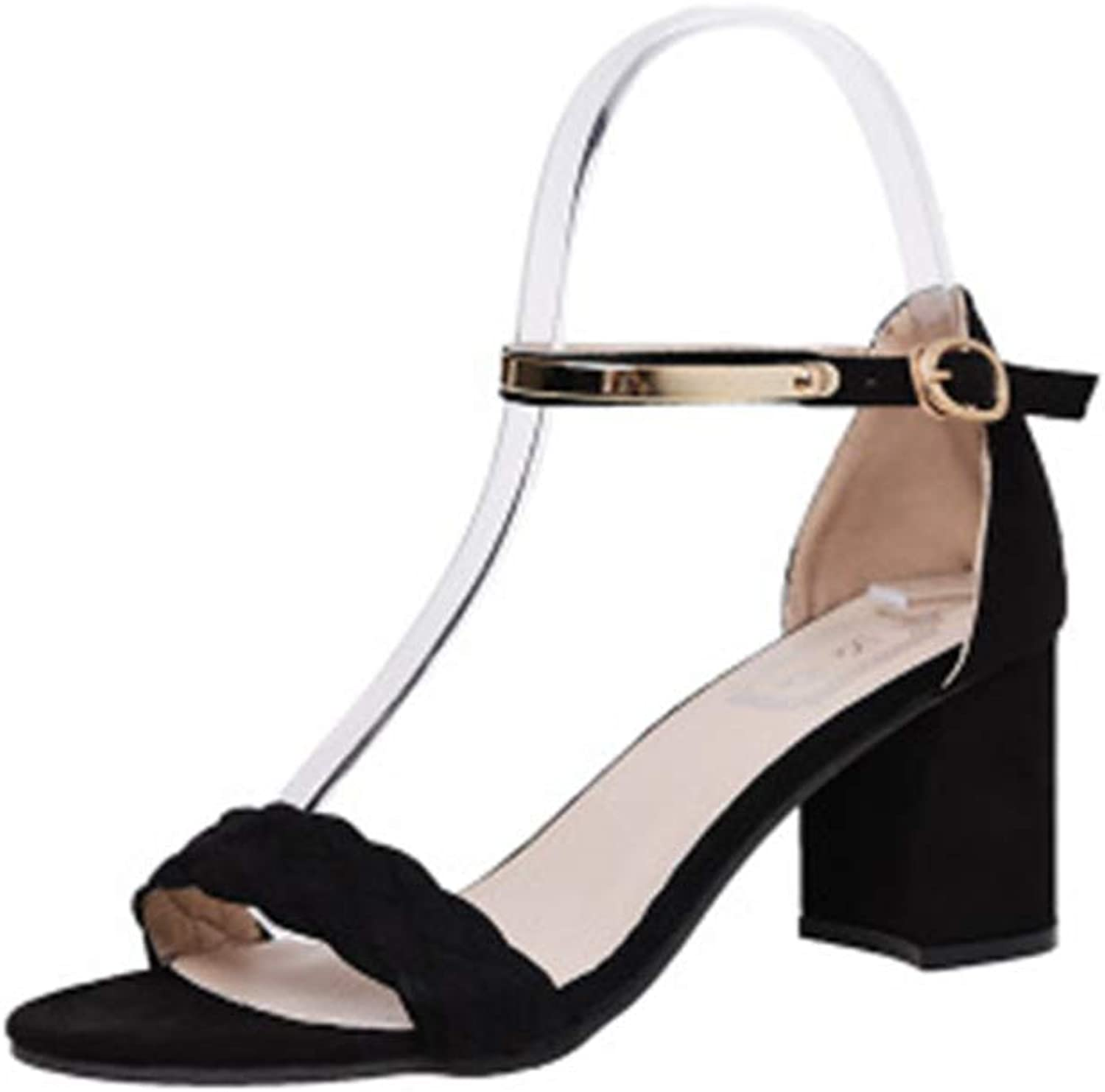 Super explosion Women's Classic Mid Heel Chunky Block Pump Sandals with Ankle Strap Dress shoes