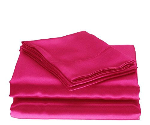 Bedify Bedding 100% Pure Silk Satin Sheet Set 7pcs, Silk Fitted Sheet 15'' Deep Pocket,Silk Flat Sheet,Silk Duvet Cover & Pillowcases Set !!! Twin XL, Hot Pink