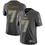 Pittsburgh Steelers # 7 American Football Trikot, Ben Roethlisberger 7# Rugby Jersey Herren Fans Trikots Sportswear T-Shirt Schnelltrocknend Atmungsaktiv-Grey-M