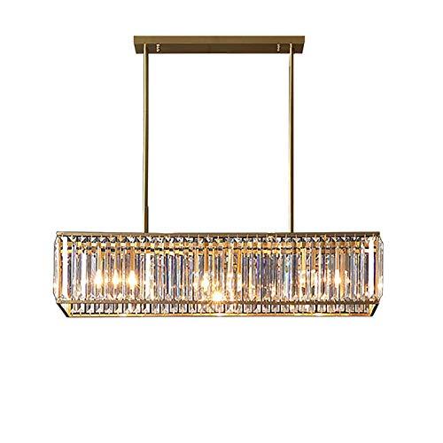 KFDQ Household Chandeliers,Modern K9 Crystal Rectangle Chandeliers 3-Light Metal Pendant Light E27 Vintage Ceiling Lights Fixtures for Kitchen Island,Dining Room,Livingroom,33 inch L,Brass