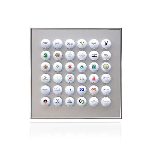 Knix Premium Golfball Setzkasten aus Aluminium für 36 Golfbälle (40 x 40 cm) - QUER - Schaukasten, Golf-Regal Vitrine Display passionierte Golfer