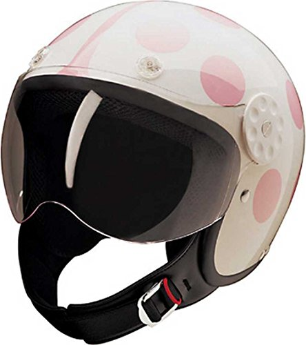 HCI Open Face Fiberglass Motorcycle Helmet - White/Pink Ladybug 15-250 (Large)