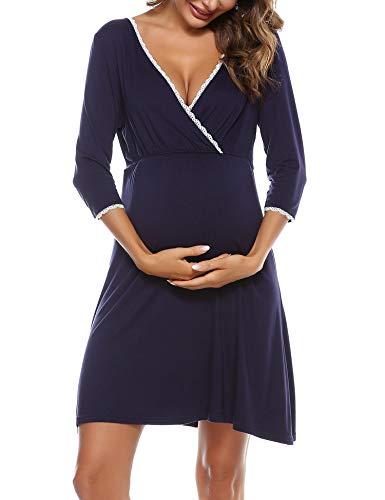 Aibrou Stillnachthemd Damen Nachthemd Mutterschaft Baumwolle Umstandsnachthemd für Schwangere Geburt Umstandsmode mit 3/4 Ärmel Umstandskleidung Geburtskleid