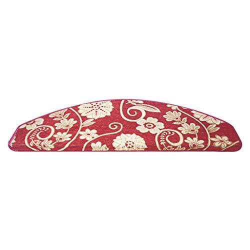 Geluidse trapmatten, trapmat, step-tapijt, zacht bloemenpatroon, antislip, geen lijm, mat, tapijt voor trap, wasbaar, verkrijgbaar in 4 kleuren, 3 maten
