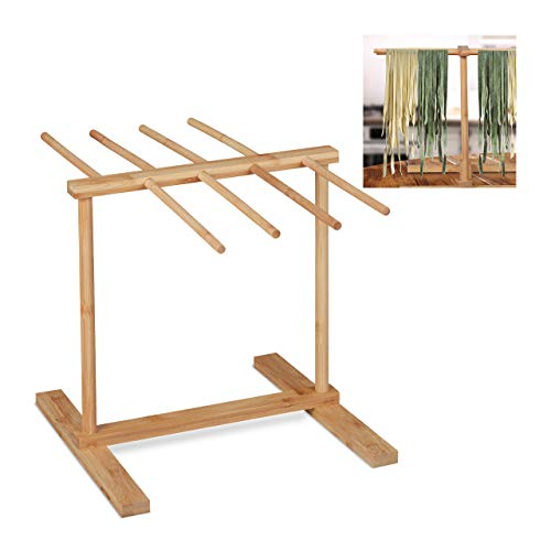 Relaxdays Nudeltrockner, 8 Stangen, lange Pasta platzsparend trocknen, Nudelständer Bambus, HBT 30 x 39,5 x 30 cm, natur, 10032117