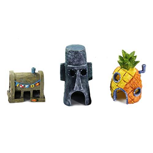 WEIWEITOE 3 en 1 Diseño Único Fish Tank Adornos de Acuario Bob Esponja Decoración de la Serie Simulación Resina Artesanía Piña Casa, Multicolor,