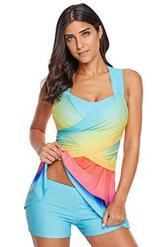 BOZEVON Mujer Traje de Baño Tallas Grandes - Acolchado con Arco Iris Vestido Conjunto de Tankinis Bañador, Azul/(EU 38-40) XL