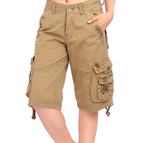 uirend Women Casual Cargo Shorts Straight Cotton Combat Pants Multi Pockets Khaki