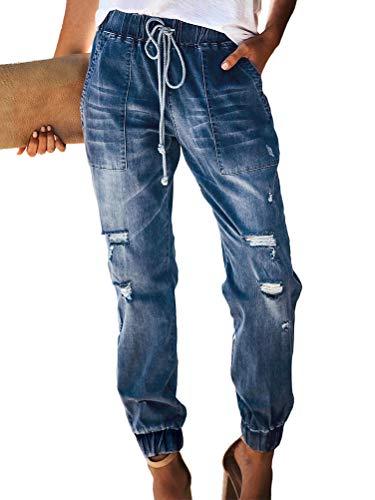 ORANDESIGNE Jeans Donna Vita Alta Jeans Strappati Elasticizzati Pantaloni con Coulisse B Blu Scuro L