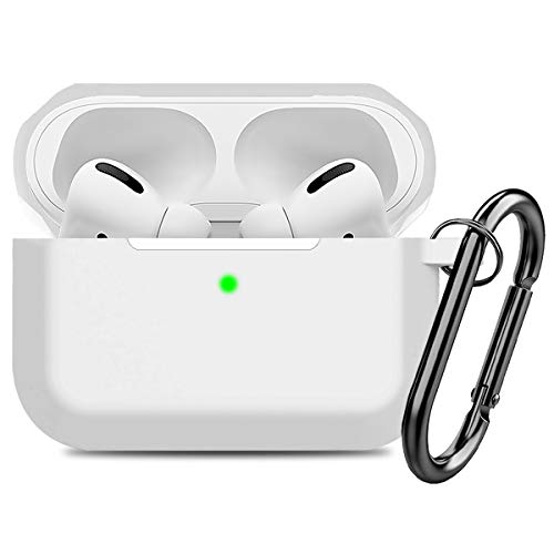 Compatible AirPods Pro Case Cover Silicone Protective Case Skin for Apple Airpod Pro 2019 (Front LED Visible) White