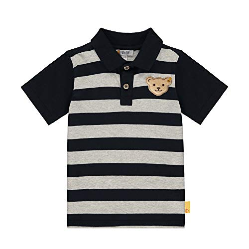 Steiff Jungen mit Streifen und Teddybärmotiv Poloshirt, Blau (Black Iris 3032), 98 (Herstellergröße: 098)