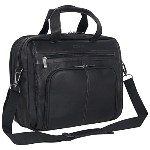 """Kenneth Cole Reaction Out Of The Bag' Manhattan Colombian Leather RFID 15.6"""" Laptop Briefcase, Black, One Size"""