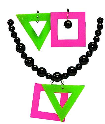 Women's Neon Geometric Earrings and Bead Necklace Set
