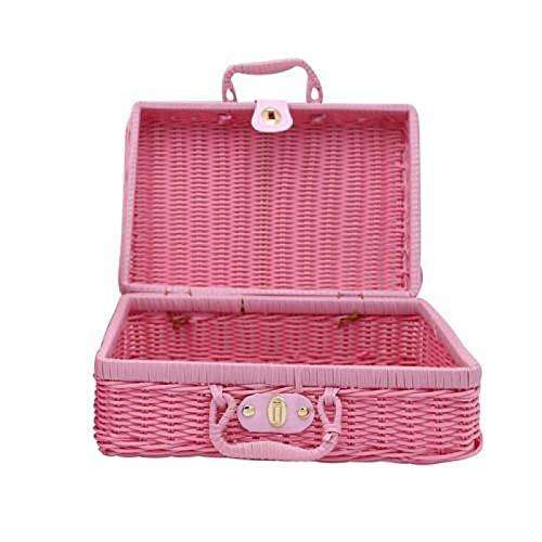 Fsrybh Vintage Rattan Storage Box Cosmetic Rack Maleta guantera