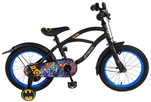 .Batman Bicicleta Infantil Niño Chico 16 Pulgadas Freno Delantero al Manillar y Trasero Contropedal Ruedas Extraibles 95% Montada Negro
