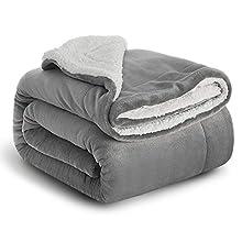 Bedsure Manta Cama 90 Invierno - Manta Sofa Grande Polar Reversible de Franela y Sherpa, Manta Sofa Gruesa 150x200 cm de Microfibra Suave y Borreguito, Gris