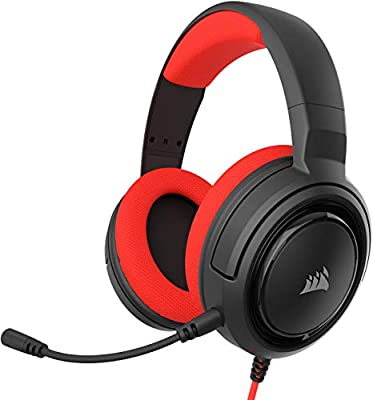 Corsair HS35 Stereo Gaming Headset (Custom 50 mm Neodymium Speakers, Detachable Unidirectional Microphone, Lightweight Build with Xbox One, PS4, Nintendo Switch & Mobile Compatibility) - Red by Corsair