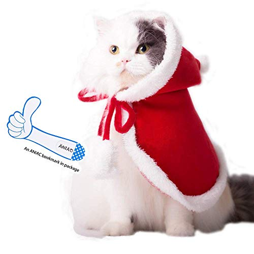 ANIAC Pet Christmas Costume Poncho Cape with Hat Santa Claus Cloak for Cats and Dogs Red (Small)