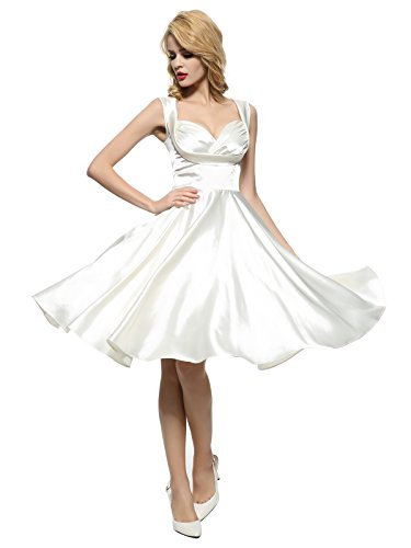 Maggie Tang Women's 1950s 60s Spring Vintage Garden Party Picnic Dress Ivory L