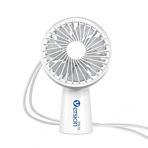 VersionTECH. Super Mini Ventilador de Mano Portátil USB Batería Recargable Incorporada 3 Velocidad con Cuerda de Cuello y Muñeca para Hogar, Oficina, Deporte, Al Aire Libre, Camping, Viaje (Blanco)