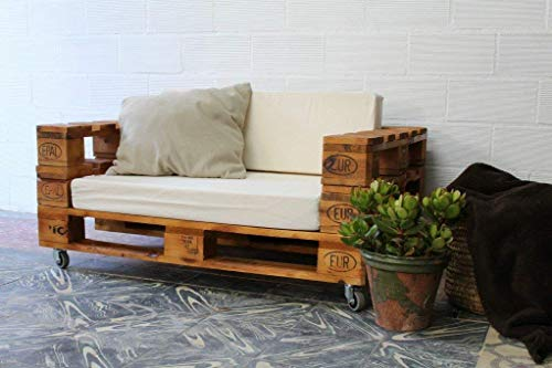 1 x SOFÁ con Ruedas para Interior & Exterior de 3 Plazas - Mueble de Terraza & Patio & Jardín hecho con Palets de Madera Reciclados (NO incluye esponja y funda) Conjunto Muebles Jardín & Balcon